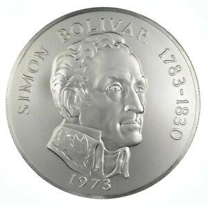 SILVER - HUGE - 1973 Panama 20 Balboas - World Silver Coin *779