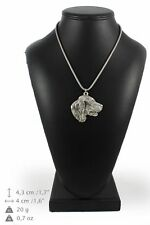 Setter - silver covered necklace with silver chain, Art Dog