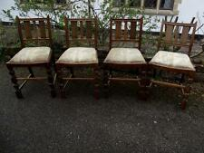 Vintage 1950's Era Carved Oak Set of 4 Dining Chairs Require Some Restoration