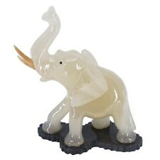 "Unique Hand Carved White Marble Stone Elephant Figurine Carving 6.5"" High New"