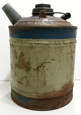 Vintage Kerosene Can Blue Galvanized Steel Gas Oil Tin Gallon Rusty Metal Beauty