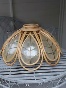 Mid 20th Century Vintage Framed Bamboo with Golden Capiz Shell Lamp Lightshade