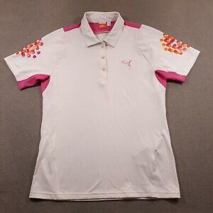 Puma Golf Polo Shirt Womens Medium White Logo Lightweight Stretch