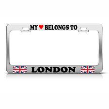 MY HEART BELONGS TO LONDON BRITISH FLAG Chrome Metal License Plate Frame