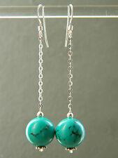 Large Turquoise GEMSTONES & 925 Sterling Silver Long Drop Handmade Earrings