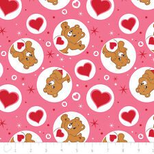 Care Bears Tender Heart Bear Pink Camelot 100% cotton fabric by the yard