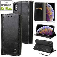 IPHONE Xs Max - Étui à Clapet Portefeuille Pochette Coque Imitation en Cuir -