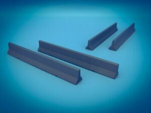 """Set of 4 Precast Concrete Temporary Barriers - S Scale 1:64 """" Jersey Barrier """""""