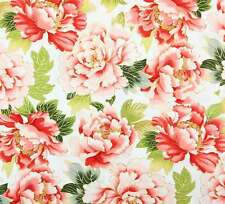Fat Quarter Tadashi Cream Flowers Cotton Quilting Fabric - Red Rooster