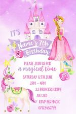 Princess Unicorn Magical Party Personalised Invitations and Envelopes x 10