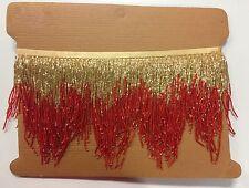"5yd Bolt 6"" Red/Gold Glass BUGLE SEED Beaded Fringe Chevron Lamp Costume Trim"