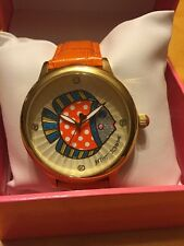 $75 Betsey Johnson Orange Leather Band With Fish Watch WB9