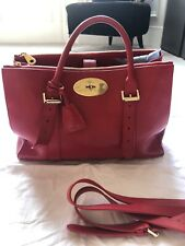 Auth Mulberry  Double Zip Bayswater Tote Bright Red Shiny Goat Soft Gold Receipt
