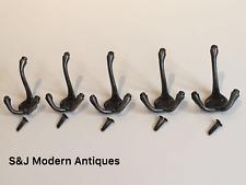 Manteau crochet triple 3 crochets fer Antique Vintage 1883 Hat Rack noir gris lot de 5