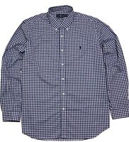 Ralph Lauren Mens Shirt  Blue White Red Checked 100% Cotton Stretch Classic L