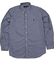 Ralph Lauren Mens Shirt  Blue White Red Checked 100% Cotton Stretch Classic M