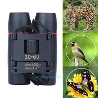 Day& Night Vision 30 x 60 Zoom Travel Birding Folding Binoculars Telescope+Case