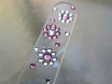 Mont Bleu Czech Crystal Glass Nail File Flower Adorned with Swarovski Crystals