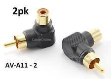 2pk RCA Male Plug to RCA Female Right Angle Adapter