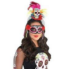 Rainbow Day of the Dead Sugar Skull Adults Headband Headdress Dia Muertos Veil