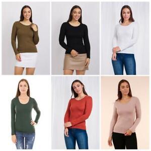 Caroline Morgan Long Sleeve Top Scoop Neck T-Shirts Basic Tee Tops Plain Colour