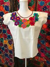 Peasant vintage Style Tunic Hand Embroidered Mexican Blouse Top 100% Cotton Asso