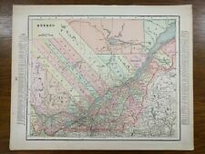 "Vintage 1900 QUEBEC CANADA Atlas Map 14""x11"" ~ Old Antique BEAUPORT LEEDS OTTAWA"