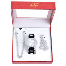 Men's Rapper Silver Tone Iced Watches Pray Hand Pendant Necklace SET WM 8915 S