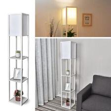 3-Tier LED Floor Lamp Linen Shade Free Standing Light Open Shelf Storage White