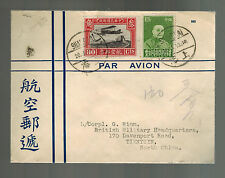 1933 Shanghai China Airmail Cover to British Military HQ Tientsin
