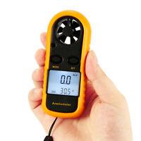 Mini LCD Wind Speed Gauge NTC Thermometer Air Velocity Meter Digital Anemometer