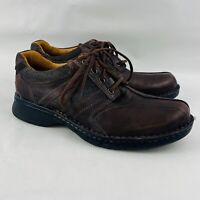 Mens 9M Clarks Unstructured Un.Coil Oxford Brown Leather Casual Lace Up Shoes