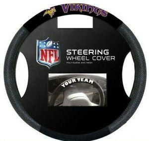 Minnesota Vikings NFL Poly Suede Mesh Car Truck Auto Steering Wheel Cover