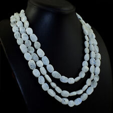 605.00 Cts Natural 3 Line Blue Flash Moonstone Oval Beads Necklace NK 44E113