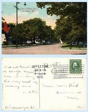 East College Avenue Appleton Wisconsin 1916 Postcard - Scarce