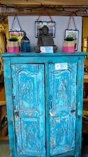 REDUCEDwas £265 Stunning blue Indian wooden cabinet with carving detail on doors