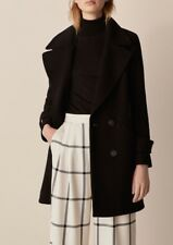 Massimo Dutti WOOL BLACK COAT WITH WAIST DETAIL SzUK14 BNWT 2018 Collection