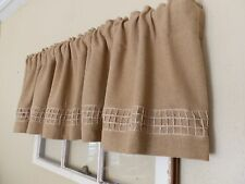 "Soft Burlap Valance with Natural 3"" Open Jute Trim 16x72 Handcrafted by Nana"