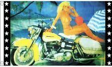 Girl and Motorcycle 5'x3' Flag Harley Davidson Biker Motorbike