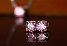 18k White Gold GP Austria Crystal Round Color CZ Zircon Studs Earrings E218g