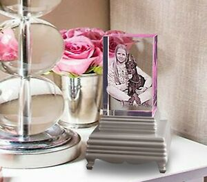 Personalised Crystal Paperweight with Lighting Base 2D Laser Engraved