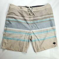 Rip Curl Surf Craft Men's Sz 36 Surf Board Shorts Swim Trunks Beige Blue Stripe