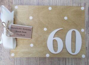 Personalised 60th Birthday Memories Wooden Scrapbook Photo Album Guest Book Gift