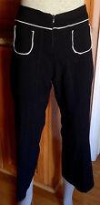 Nana Baila Paris Black White Trim 2 Front Pockets Crop Capri Pants sz 2