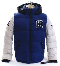Tommy Hilfiger Blue & Ice Varsity Zip Front Hooded Puffer...