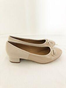 New Ladies Patent Nude Ballet Pumps Low Heel Workwear Office UK Sizes