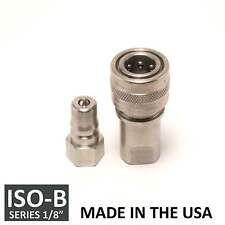 "1 Set 1/8"" ISO-B Hydraulic Hose Quick Disconnect Couplers Plug - (ISO 7241-1 B)"