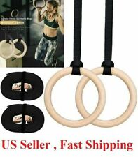 1set 28mm Wood Gymnastic Ring Olympic Strength Training Gym Ring Wooden Crossfit
