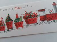UNUSED Vtg ANTHROPOMORPHIC Glitter TRAIN From SIX of US CHRISTMAS GREETING CARD