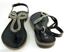 Hush Puppies Sandalette 31 LEDER Sandale Sommer Schuh Zehensteg Schwarz Chic NEU